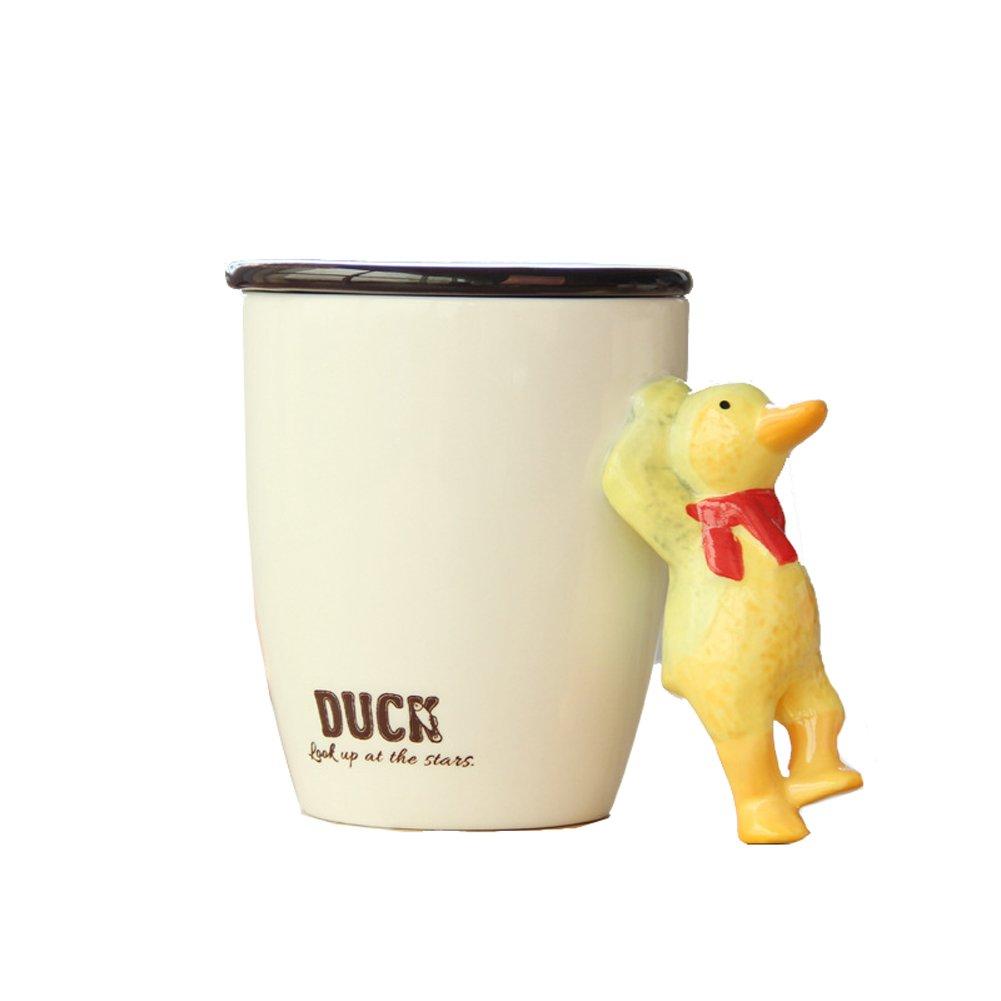 3D Handmade Hand-painted Creative Art Cute Animals Ceramic Coffee Mugs Cups Vivid Pattern Water Cup (Duck)