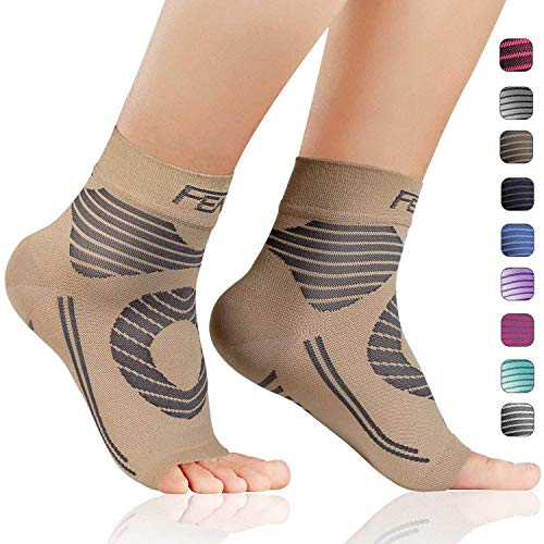FEATOL Plantar Fasciitis Socks with Arch Ankle Support Compression Socks ((1 Pair) Nude, Large)