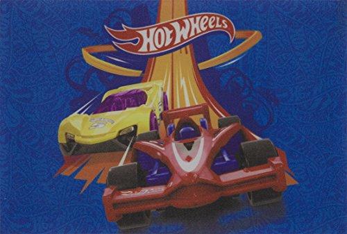 Tapete Linha Digital Mattel Hot Wheels Acelera 40 X 60 Cm Jolitex Azul Médio