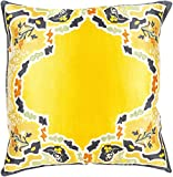 18'' Metallic Yellow and Gray Floral Pattern Woven Square Indoor Throw Pillow - Down Filler