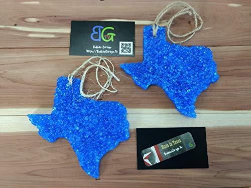 (Leather scented Large Blue Texas Automotive Car Freshener - 2 Pack)