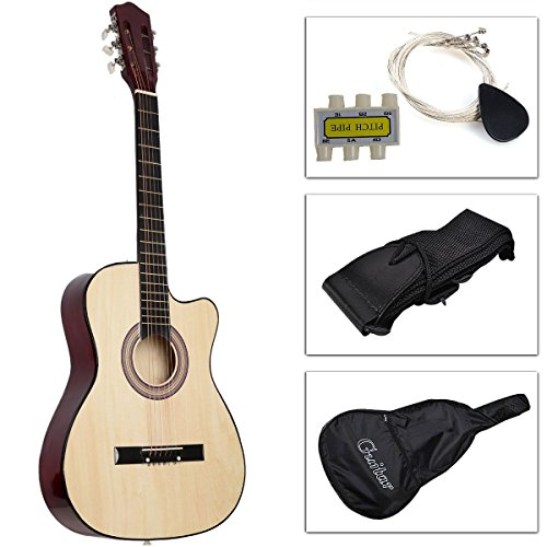 New Beginners Acoustic Guitar With Guitar Case, Strap, Tuner and Pick Beige (Pink Cutaway Acoustic Guitar)