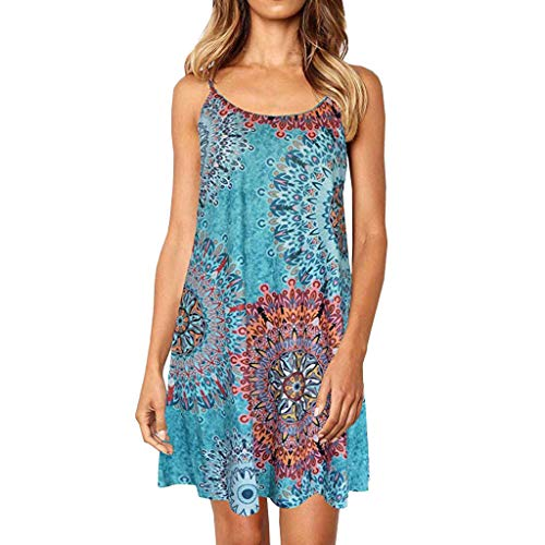 PENGYGY Pengy Woman Printed Dress Casual Adjustable Summer Dress Prints Sleeveless Cover ups Beach Dress Light Blue]()