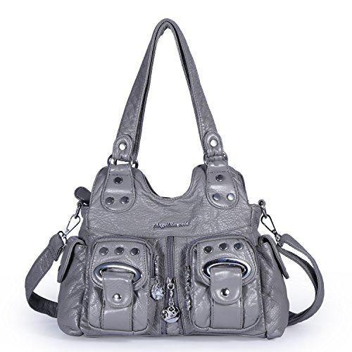 (Angel Barcelo 3 Top Zippers Multi Pockets Purses and Handbags Leather Shoulder Bags Backpack Women (Grey))