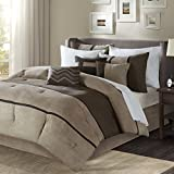 Brown King Size Comforter Madison Park Palisades King Size Bed Comforter Set Bed in A Bag - Brown, Taupe, Pieced Stripe - 7 Pieces Bedding Sets - Micro Suede Bedroom Comforters