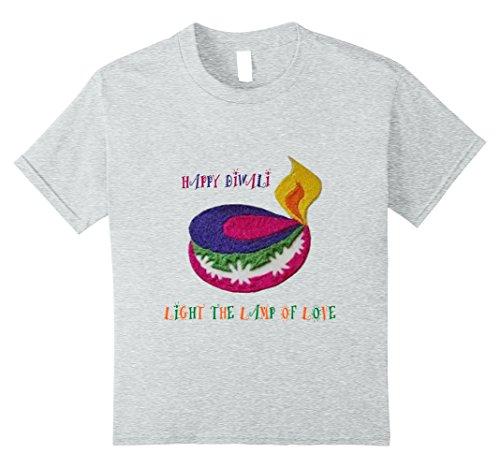 Kids Diwali 2017 Rangoli Lamp T-shirt for Men and Woman 8 Heather Grey by Diwali Gift Tshirt Light and Love