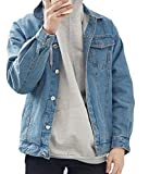 UUYUK Men's Fahsion Vintage Wash Denim Jean Jacket Coats Outerwear Light Blue US XL