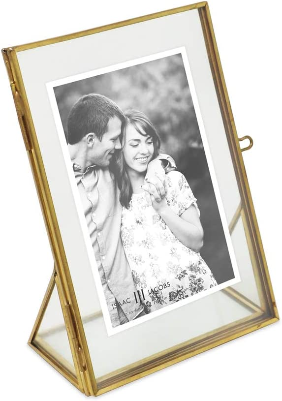 Antique Gold Art Isaac Jacobs 4x4 for Pictures with Locket Closure and Angled Base Floating Photo Frame Mementos Metal 4x4, Antique Gold Keepsakes Vintage Style Brass and Glass