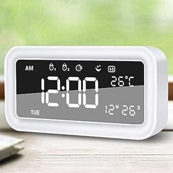 Réveil Lumière Led Miroir Réveil Numérique Snooze Horloge De