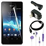 Skque Clear Anti Scratch Screen Protector Skin Film + Black Micro USB Charging Cable + Black USB Wall/Travel Charger and Car Charger + 3.5mm Remote Mic Metal Earphone,Purple for Mobile Phone Sony Xperia V LT25i Cellphone
