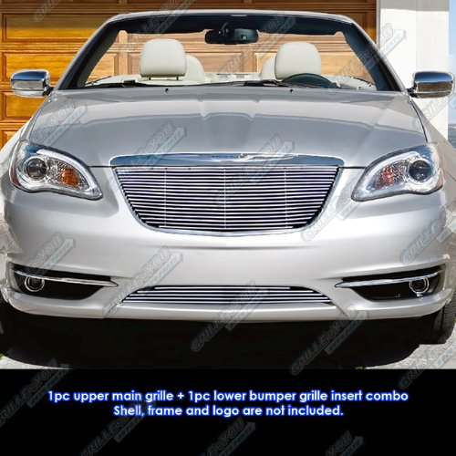 APS Fits 2011-2014 Chrysler 200 Billet Grille Grill Insert Combo #R81106A