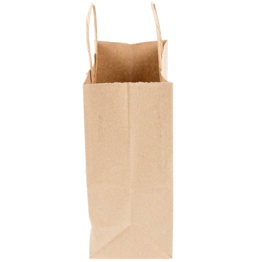 250 Kraft Shopping Bag 60# Natural Kraft Paper, 8 1/4 x 4 3/4 x 10 1/2'' -250 Bags- Mechandise, Party, Gift Bags