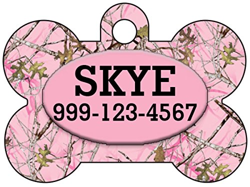Camo Dog Tag Pet Id Tag Personalized w/Your Pet's Name & Number (Pink Realtree) (Realtree Pink Camo Collar Dog)