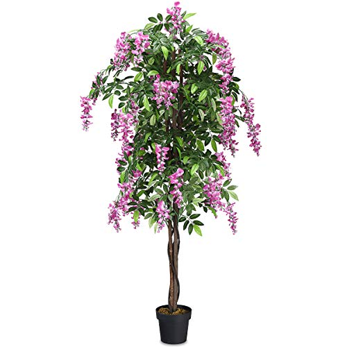 Goplus Fake Wisteria Tree Artificial Greenery Plants in Nursery Pot Decorative Trees for Home, Office, Lobby (6Ft Wisteria Tree)