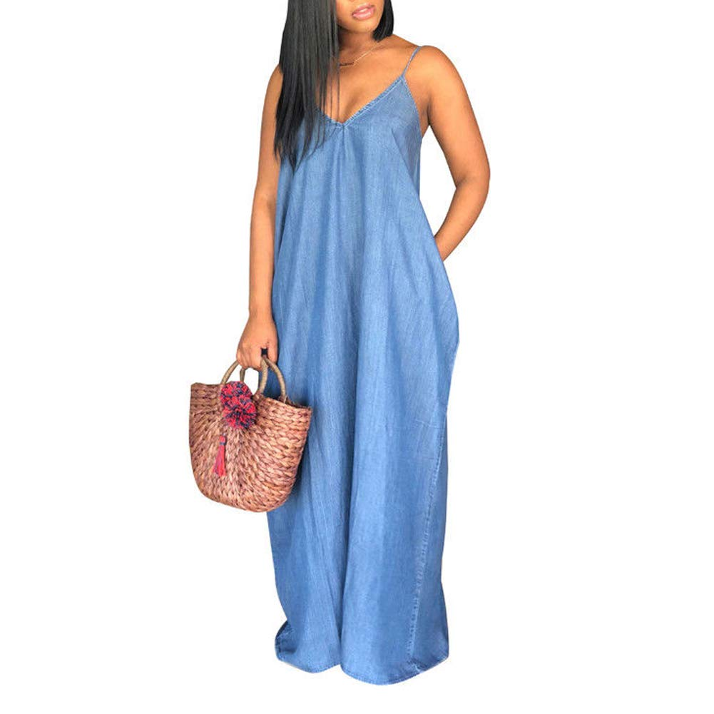 Women Summer Sleeveless Denim Maxi Dresses Plus Size Deep V ...