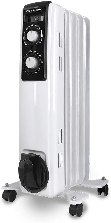 Orbegozo RF 1000 Radiador de aceite, 1000W de potencia, construcción modular de 5 elementos y diseño en color blanco