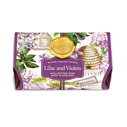 Michel Design Works Triple Milled Shea Butter Bath Soap Bar, Lilac & Violets (Scented Soap Bath)