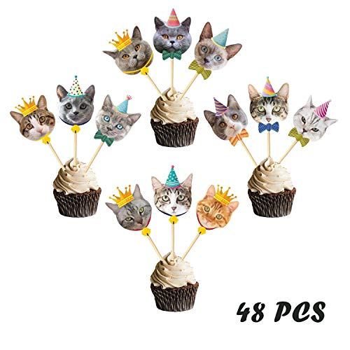 Suppar Set of 48 Glittery Kitten Cat Meow Cupcake Toppers,Cat Birthday Decor for Kids Birthday Party Baby Shower Cat Theme Party Supplies