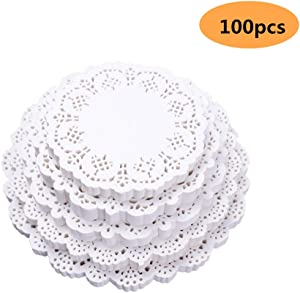 Doilies Paper Lace, Doilies for Dressers and end Tables- Doilies for Crafts,Cake, Desert, Wedding, Tableware Decoration 4.5inch 100pieces (100, 4.5'')