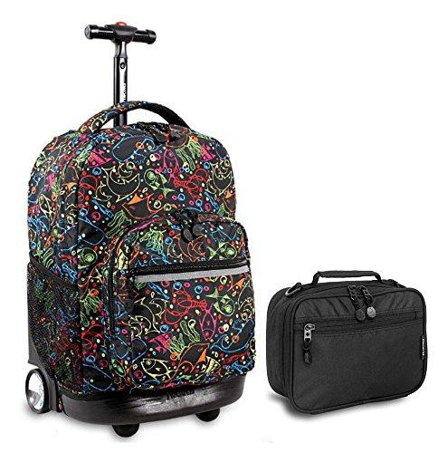 j-world-doodles-sunrise-roller-backpack-back-pack-and-black-cody-lunch-bag-bundle-set
