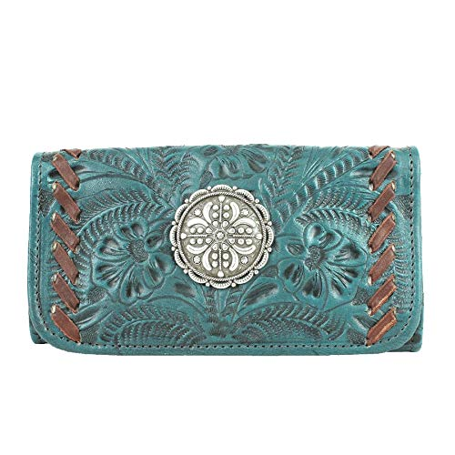 - American West Lariats & Lace Leather Tri-Fold Wallet (Dark Turquoise (7316282))