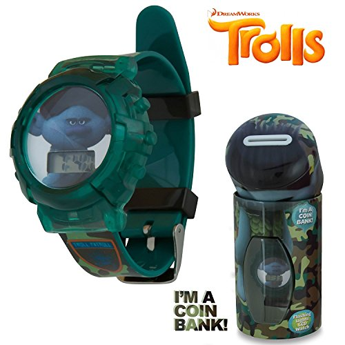 DreamWorks Trolls Kids LCD Flashing Lights Wrist Watch in a Coin Bank