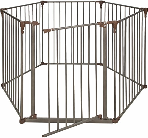 Crown Pet Products Convertible Pet Gate with Extra Wide Door / Indoor Outdoor Dog Exercise Playpen, Dark Bronze/Brown