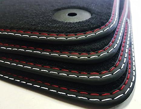 Styling4yourcar Fußmatten Für 307cc Höchste Qualität Doppelnaht Rot Silber Automatten Velours Auto