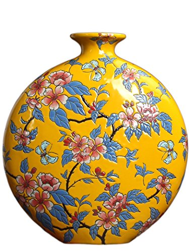 ALL DECOR Oriental Chinese Ceramic Porcelain Oblate Vase Yellow, Porcelain Gift Vase, Floral Painting, For Home Office Shop Cafe Decoration 13.25 Inches