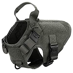 """ICEFANG Terrier Tactical Dog Harness,Small K9 Puppy Dog Vest Hook Loop Self Adhesive Tape Dog Patch,Leash Clip Snap-Proof (XS (18""""-23"""" Girth), RG-Plastic Buckle)"""