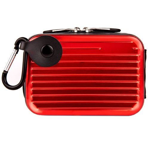 Pascal Metallic Camera Hard Case for Canon PowerShot ELPH 150 IS, 140 IS, IXUS 150, 135, 145, 340 HS, IXUS 265 HS Point and Shoot Digital Cameras (Red)