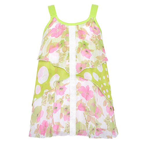 Lipstik Green (Lipstik Little Girls Green White Floral Dotted Print Sleeveless Top 5)