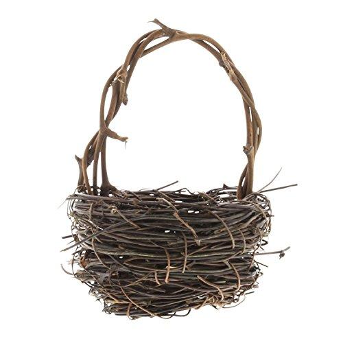 Set 5 Rustic Twig Nest Baskets | Round Branch Cottage Handle
