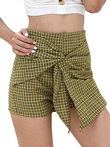 CHARLES RICHARDS Women's Asymetric High Waist Knot Front Checked Chic Shorts Mini Shorts ()