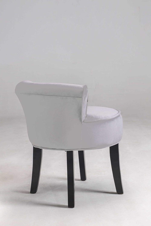 Vanimeu Vanity Dressing Table Chair Ergonomics Bedroom Velvet Fabric Makeup  Table Stool For Bedroom Furniture Wooden Legs High Back/Low Back (Grey Low