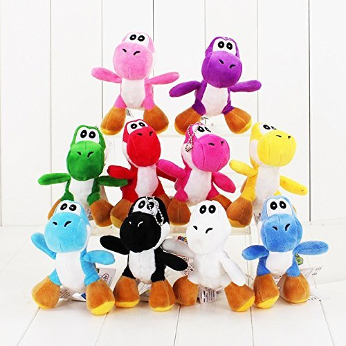 Super Mario Plush 4.2'' / 10cm Mini Yoshi 10pcs Set Doll Stuffed Animals Figure Soft Anime Collection Toy by Latim
