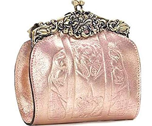 Patricia Nash Rosaria Glitter Metallic Leather Evening Bag~Pink Metallic