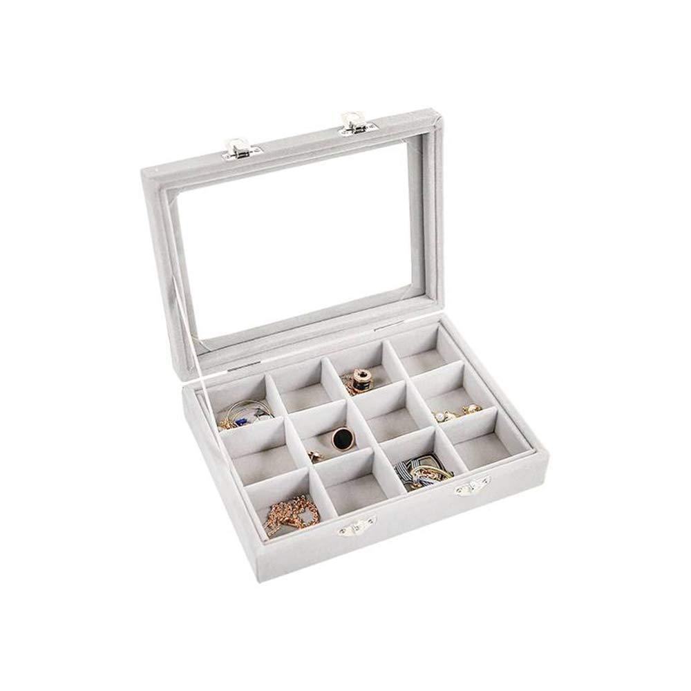Aofocy 24 Bandeja de joyer/ía de terciopelo de rejilla para cajones Bandeja de almacenamiento de exhibici/ón de tapa clara de cristal Bandejas de almacenamiento
