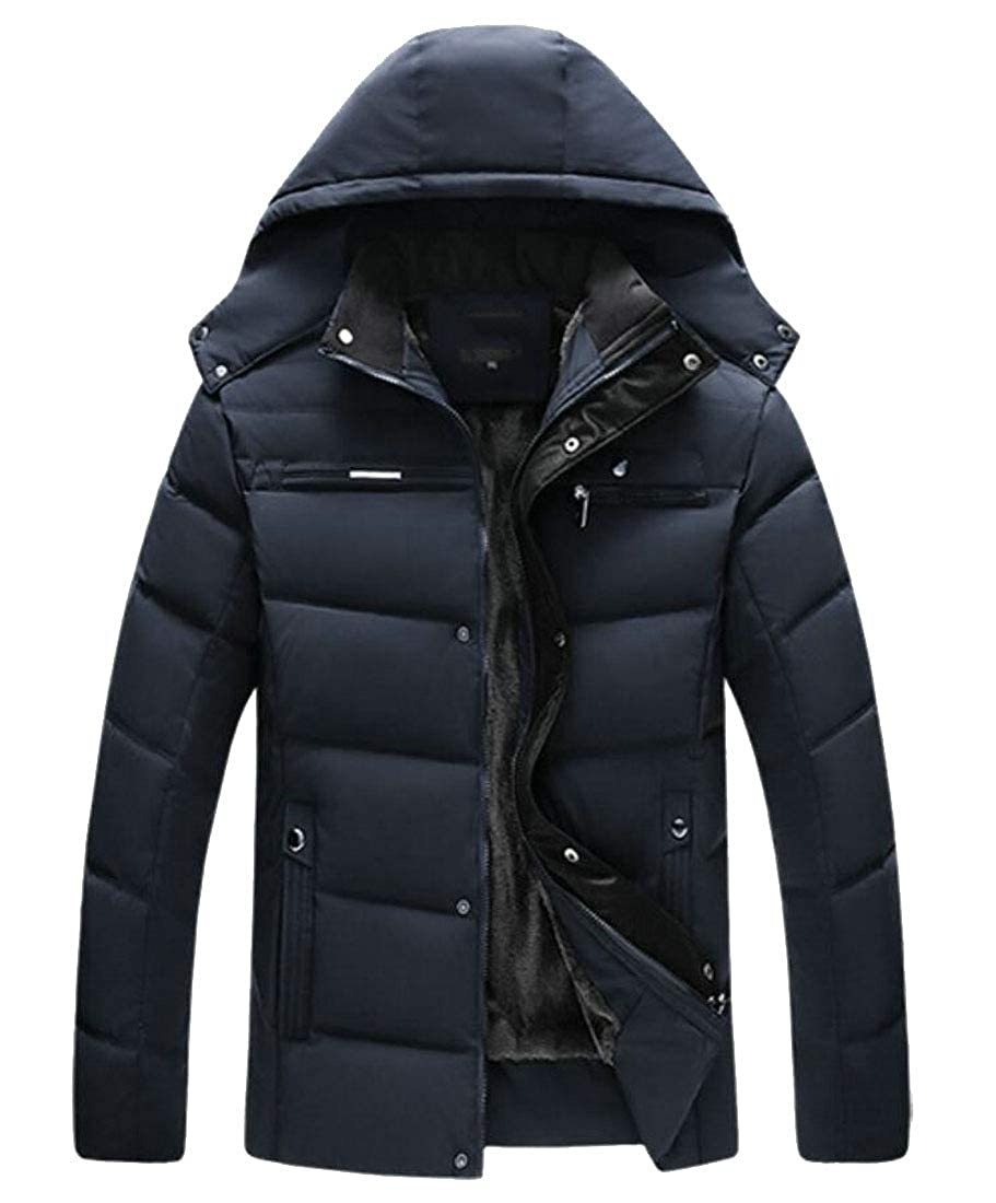 WSPLYSPJY Mens Warm Fleece Lined Thicken Hooded Quilted Down Coat Parka Jackets