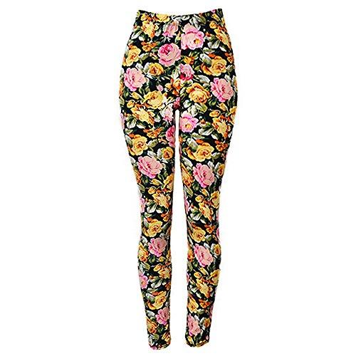 Falari High Quality Women Printed Leggings Pink Yellow Rose