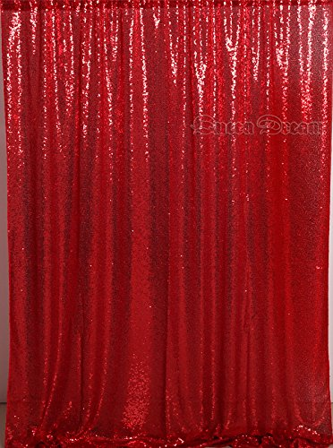 Red Glitter Backgrounds - QueenDream 4ftx6ft Red sequin backdrop shower curtain backdrop wedding photo booth background boudoir photography backdrop