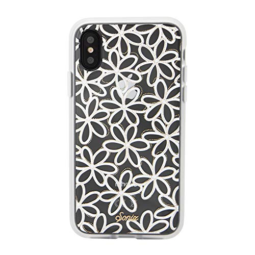 (iPhone Xs, iPhone X, Sonix Sweet Pea (White, Gold Glitter Flowers) Cell Phone Case [Military Drop Test Certified] Women's Protective Clear Case Series for Apple iPhone X, iPhone Xs)