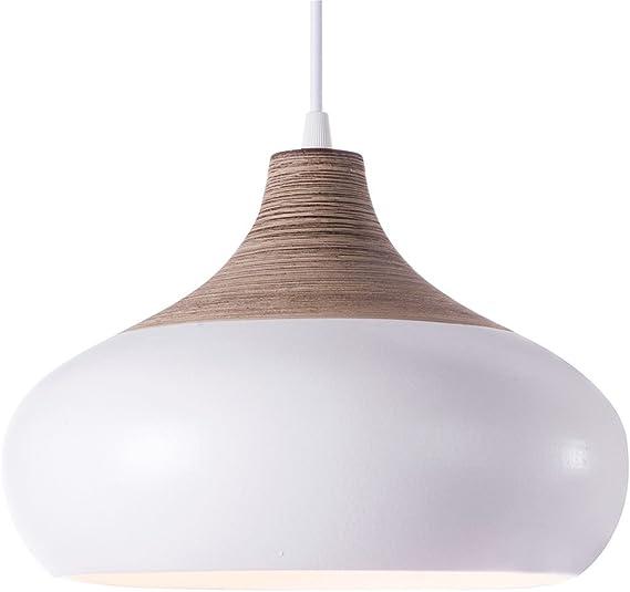 Luminaire MARIA EFFET BOIS, suspension céramique, 60 W
