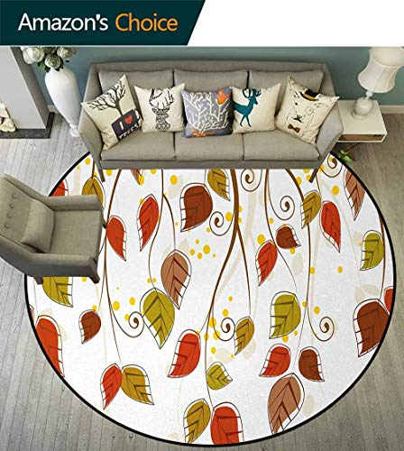 DESPKON-HOME Autumn Non Slip Round Rugs,Branches with Fall Leaves Seasonal Colors Nature Environment Foliage Oriental Floor and Carpets Diameter-63 Inch,Burnt Sienna Brown Green