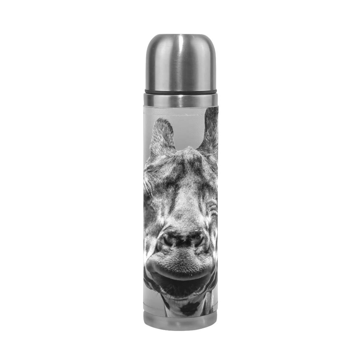 EAKLLCI Water Bottle Double Wall Vacuum Cup Insulated Stainless Steel Animal Giraffe PU Leather Travel Mug Christmas Birthday Gifts