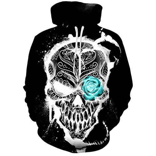 FEDULK Mens Womens 3D Digital Print Scary Sull Halloween Costume Pullover Hoodie Hooded Sweatshirt(Black, Medium)