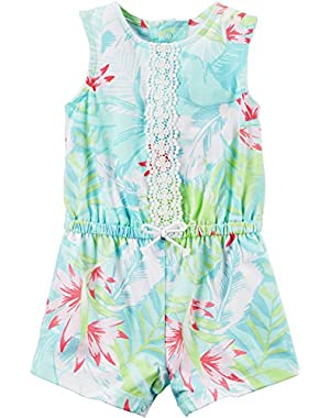 Baby Girls' Floral Palm Romper