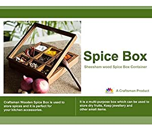 Crafts'man Masala Box /Dabba/Lock Spice Rack Container, Hand Crafted Spice Box