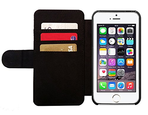 Leder Flip Case Tasche Hülle für Apple iPhone SE - Typografie Spaß Motivation Hund by UtArt