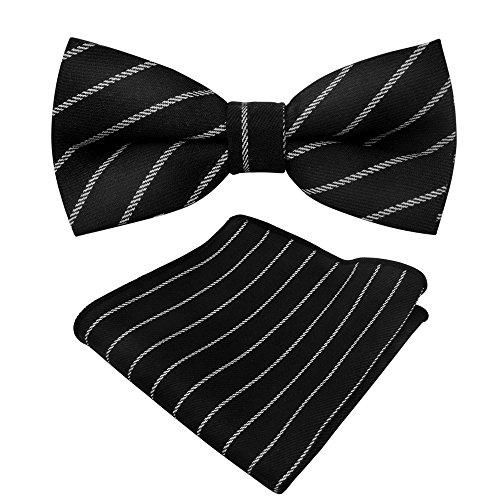 Men Cotton Bow Ties Set Tuxedo Bow Ties Pocket Square Set Boys Pre Tied Bow Ties